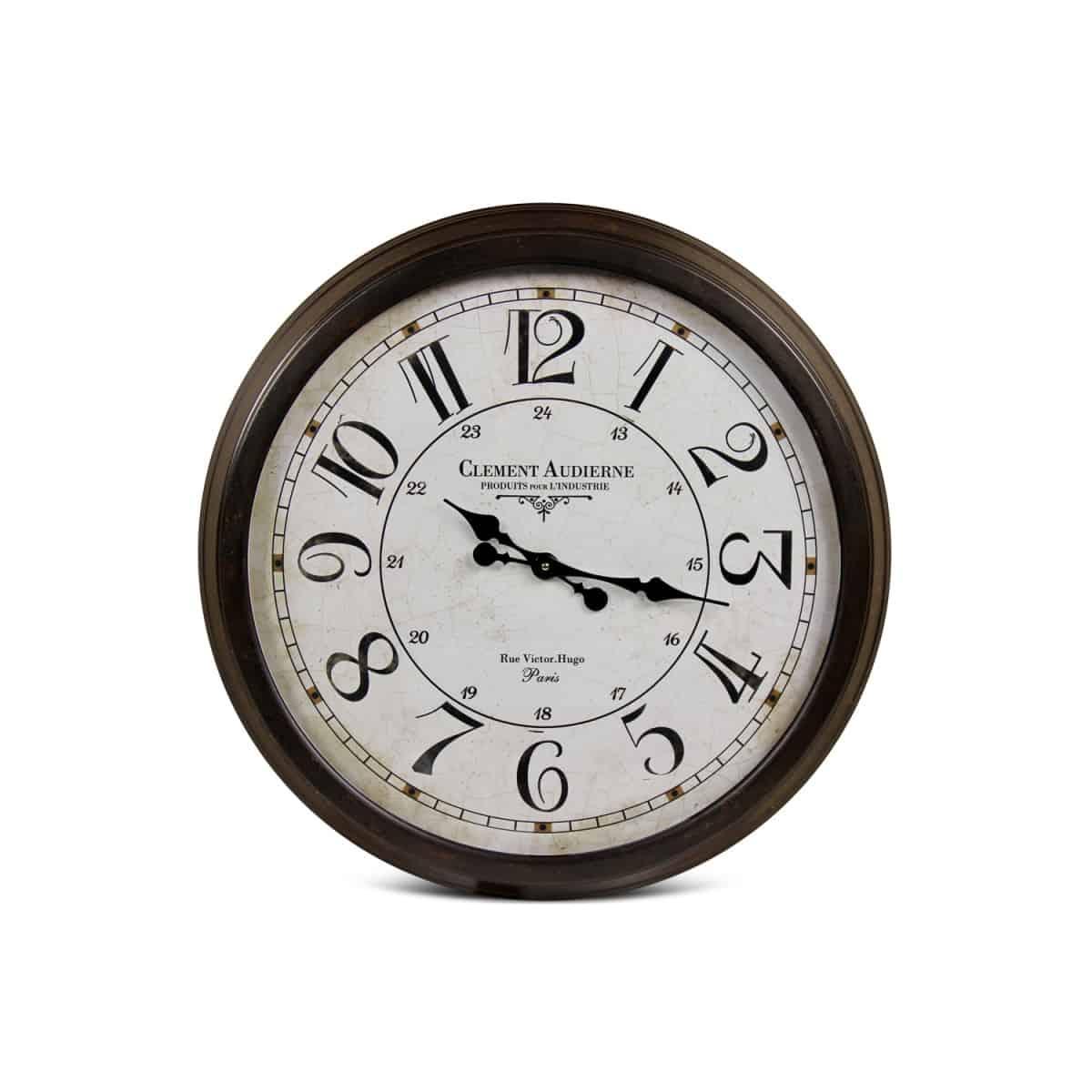 Grande Horloge Ancienne Murale Clément Audierne Métal Blanc 70cm