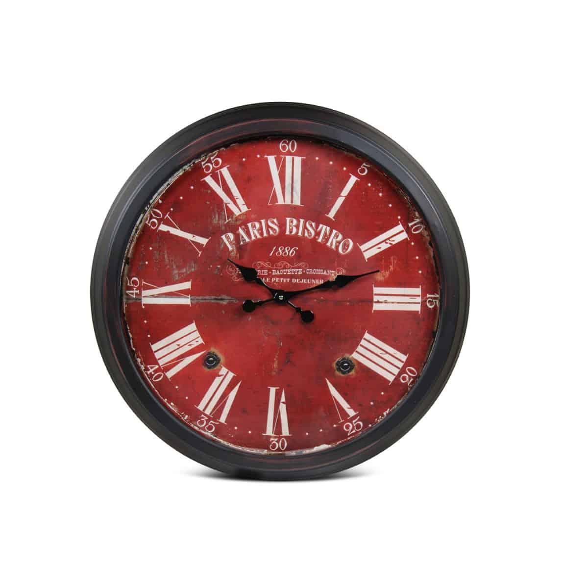 Grande Horloge Ancienne Murale Paris Bistro Métal Rouge-Bordeaux 70cm