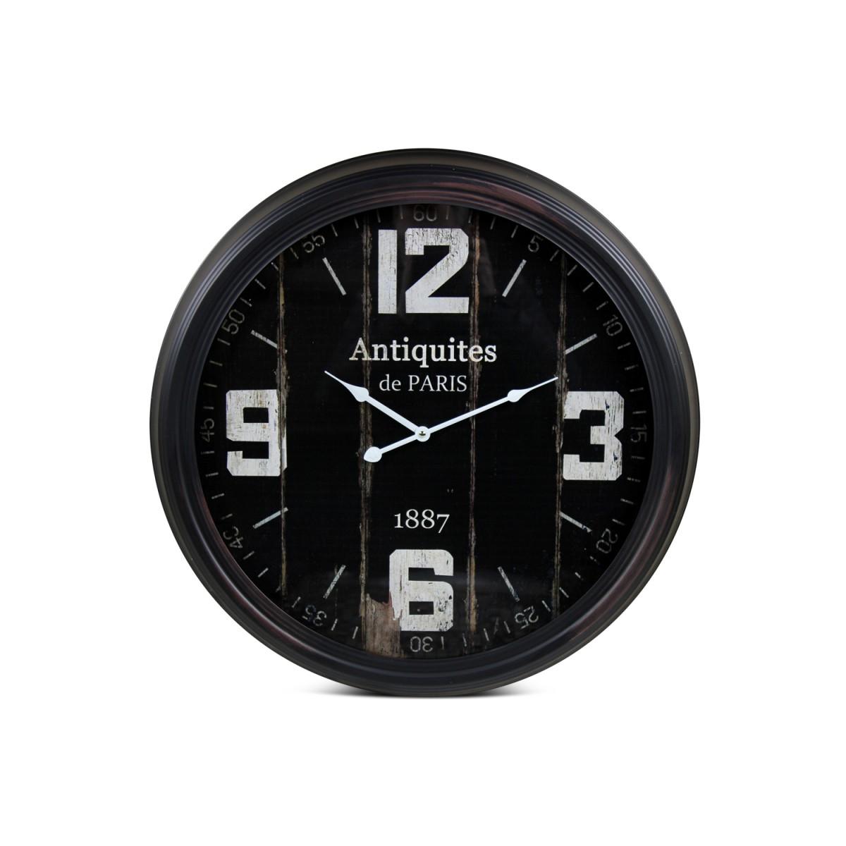 Horloge Ancienne Murale Antiquités de Paris Métal Noir 62cm