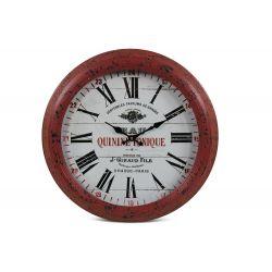 Horloge Ancienne Murale Eau Quinine Tonique Métal Rouge-Bordeaux 47cm