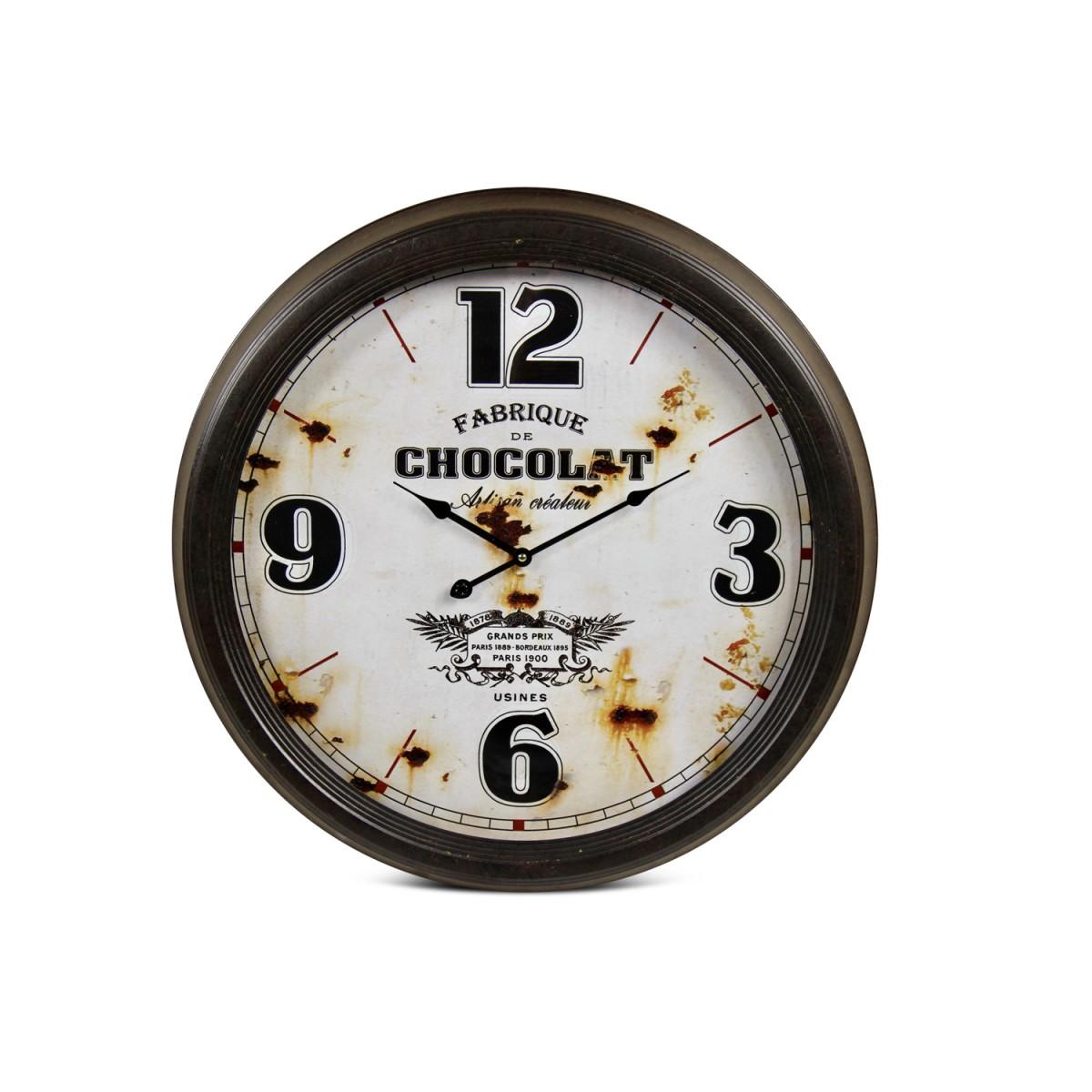 Horloge Ancienne Murale Fabrique de Chocolat Métal Blanc 62cm