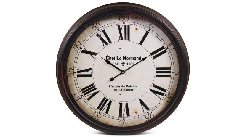 Horloge Ancienne Murale Chef Le Normand Métal Noir 62cm