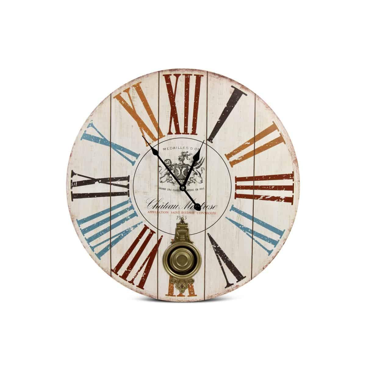 Horloge Ancienne Balancier Château Montrose Bois Blanc 58cm