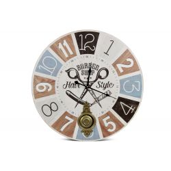 Horloge Ancienne Balancier Barber Shop Hair Style Bois Blanc 58cm