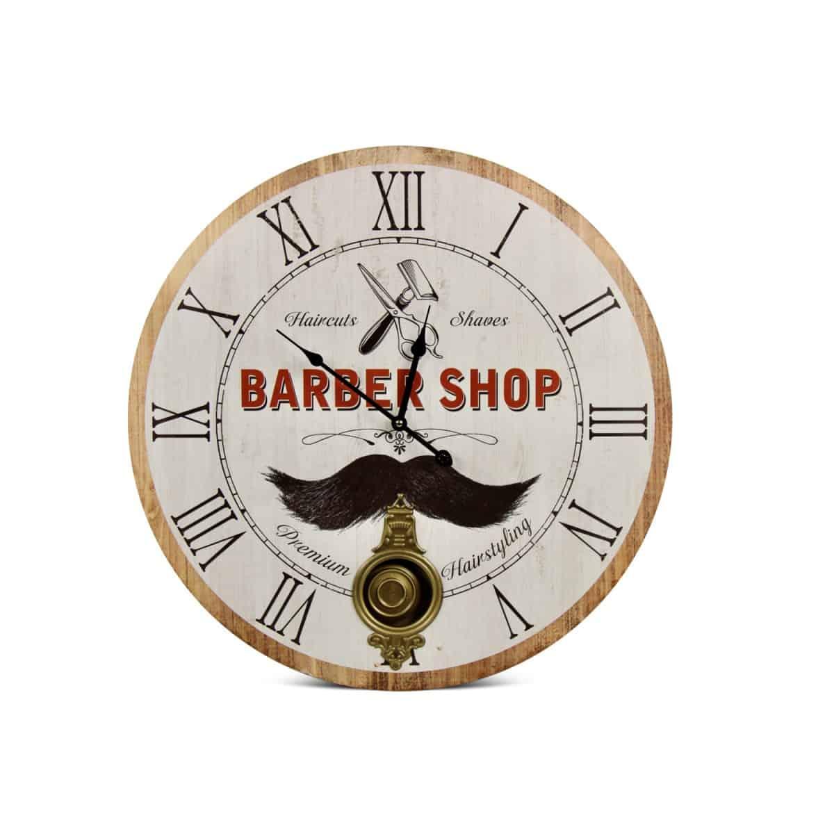 Horloge Ancienne Balancier Barber Shop Bois Blanc 58cm