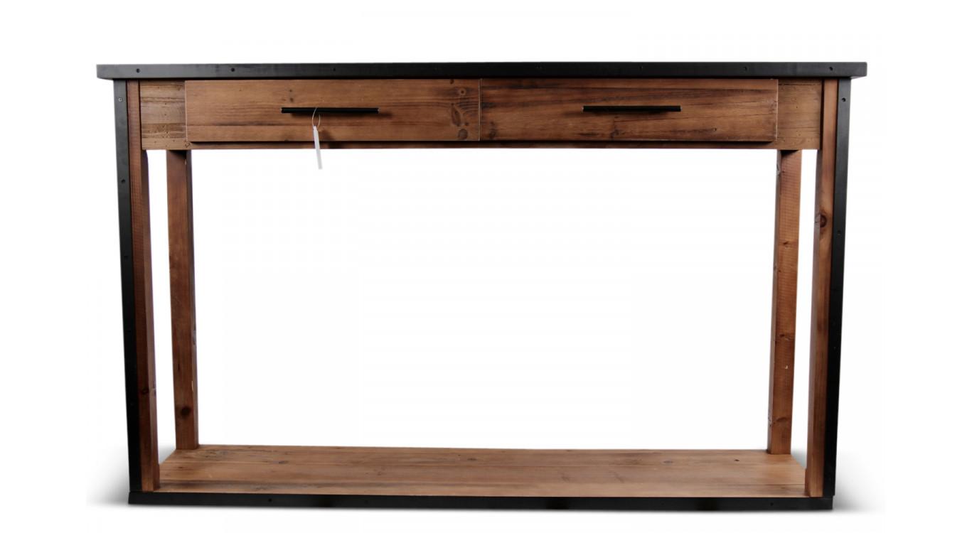Console 2 Tiroirs Bois Marron 158,5x44,5x96cm