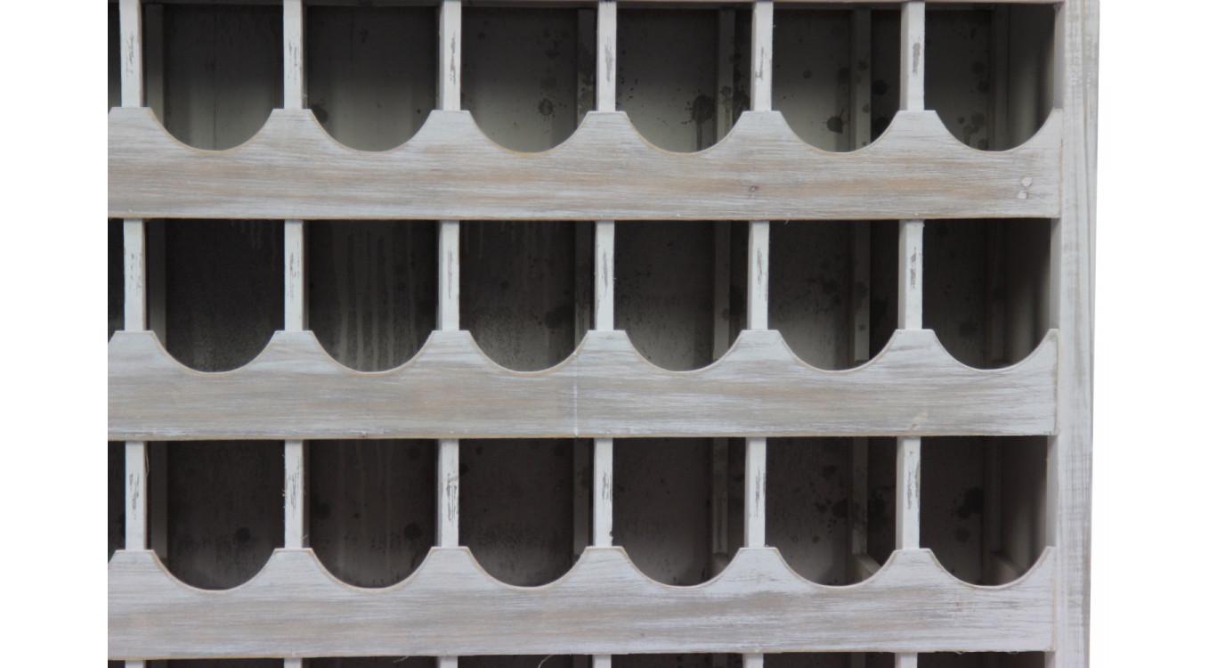 Meuble Rangement Vins Bois 2 Tiroirs Cerusé Blanc 108.5x30.5x98.5cm