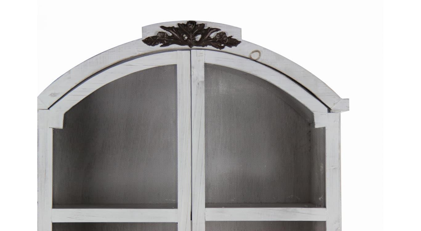 Buffet Vaisselier Rangement Bois Cerusé Blanc 84.5x41.5x184cm