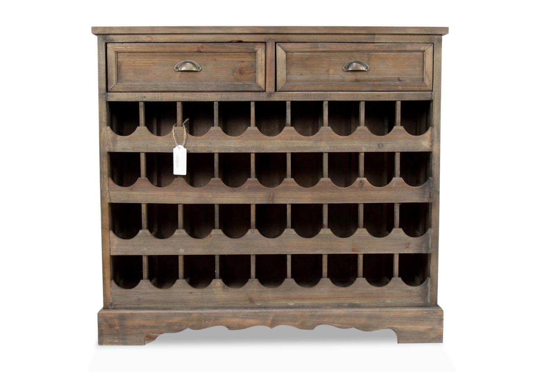 Meuble Rangement Vins Bois 2 Tiroirs 108.5x30.5x98.5cm