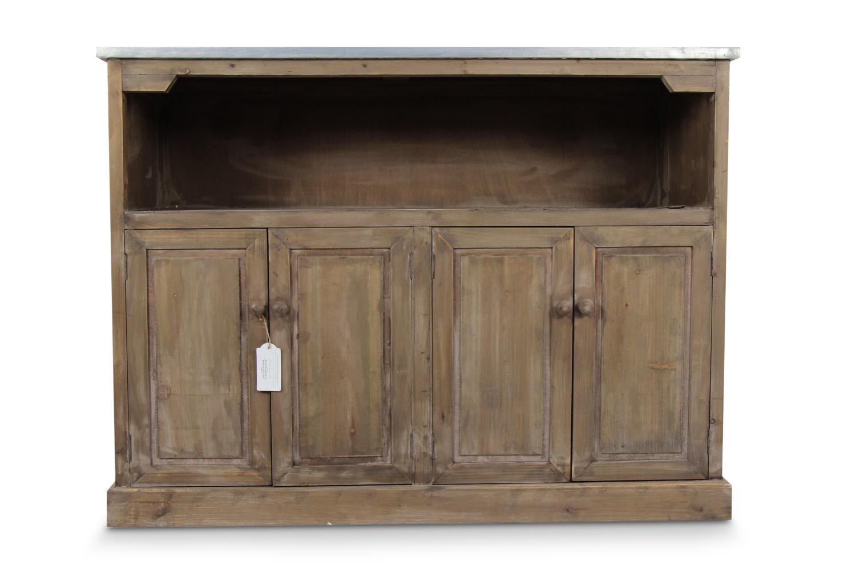 meuble bas rangement bois plateau zinc 119x47x90cm. Black Bedroom Furniture Sets. Home Design Ideas