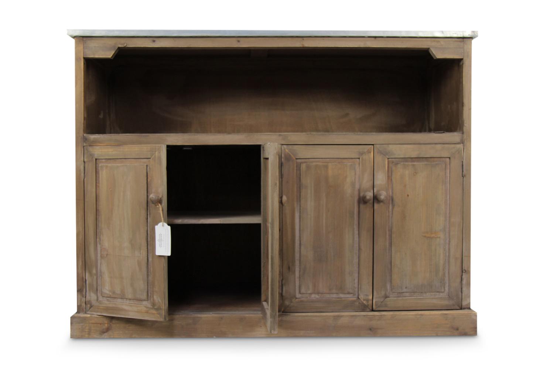 Meuble Bas De Rangement Pour Cuisine meuble bas rangement bois plateau zinc 119x47x90cm