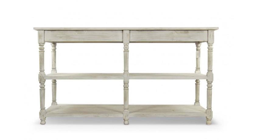 Meuble tv bois ceruse blanc - Console en bois blanc ...