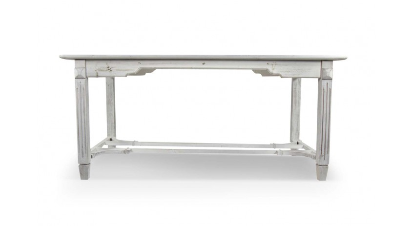 TABLE BOIS CERUSE BLANC 180x90.5x81.5cm