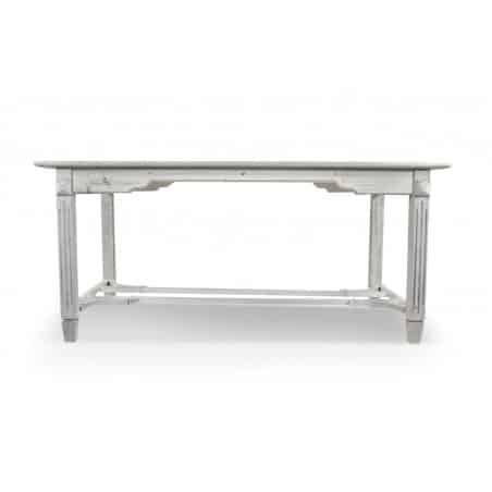TABLE BOIS CERUSE BLANC 180x90.5x81.5cm