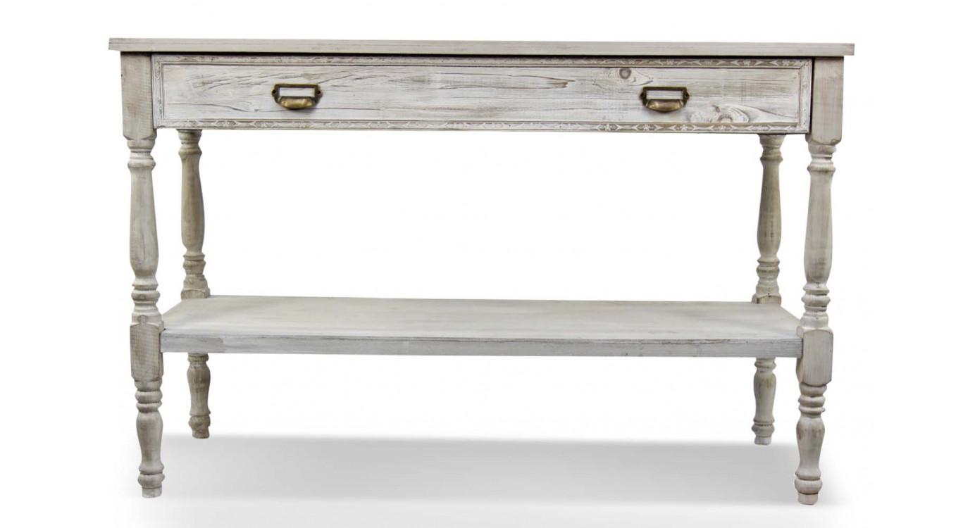 Meuble Console Drapier Bois Cerusé Blanc 1 Tiroir 120x45x77cm