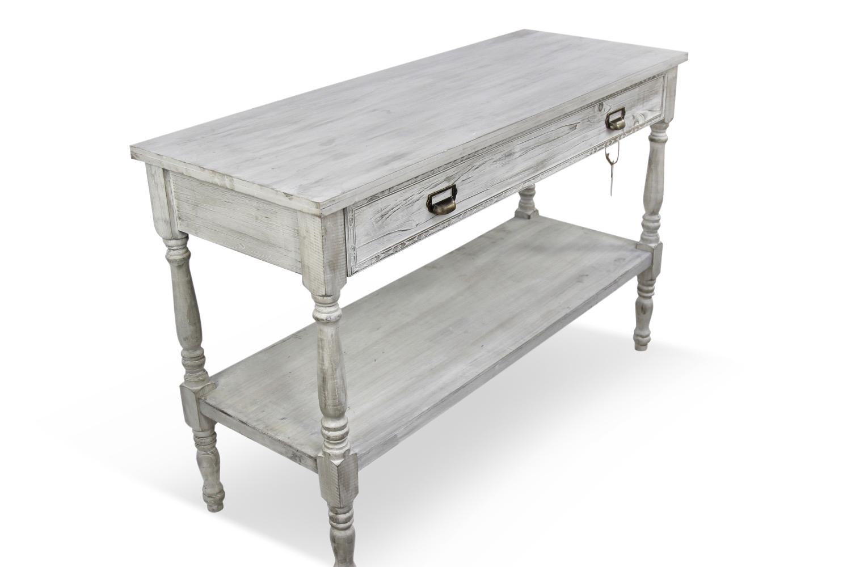 meuble console drapier bois ceruse blanc 1 tiroir 120x45x77cm. Black Bedroom Furniture Sets. Home Design Ideas