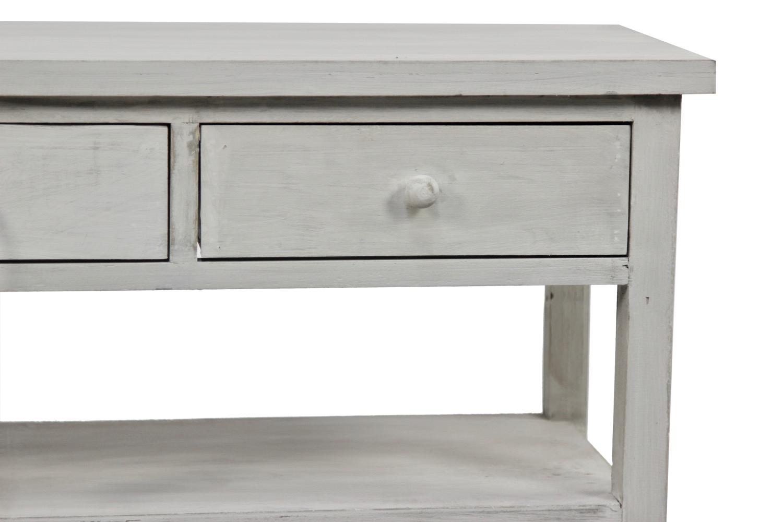 Meuble console bois ceruse blanc 3 tiroirs 110x38x45cm for Meuble rangement hauteur 110 cm