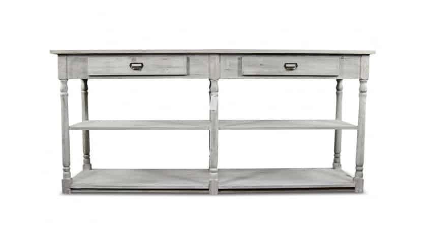 meuble console drapier bois cerus blanc 2 tiroirs 190x54x87cm. Black Bedroom Furniture Sets. Home Design Ideas