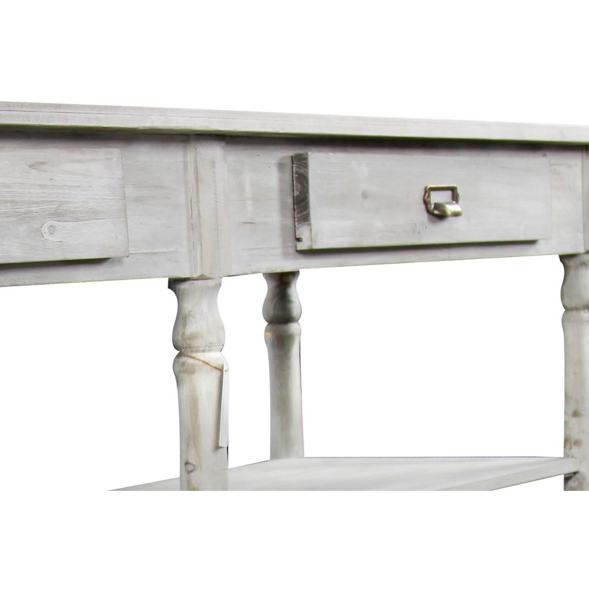 Meuble Console Drapier Bois Cerusé Blanc 2 Tiroirs 190x54x87cm