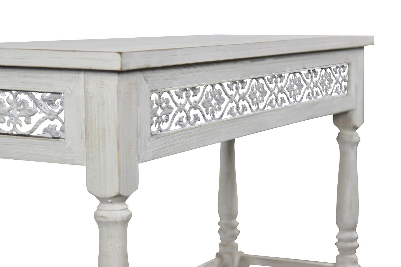 Meuble console bois ceruse blanc 98x35x77cm for Meuble console