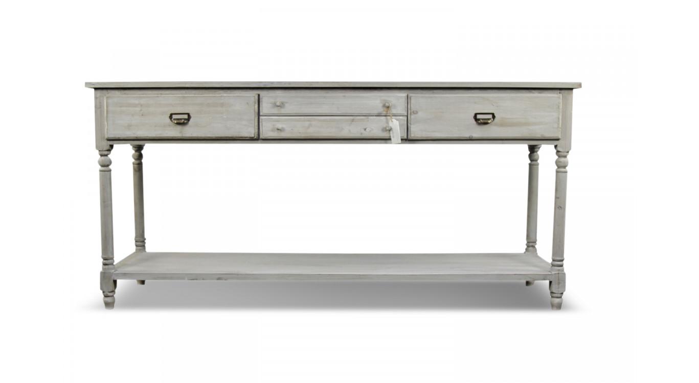 Meuble Console Drapier Bois 4 Tiroirs Cerusé Blanc 183x50x87cm