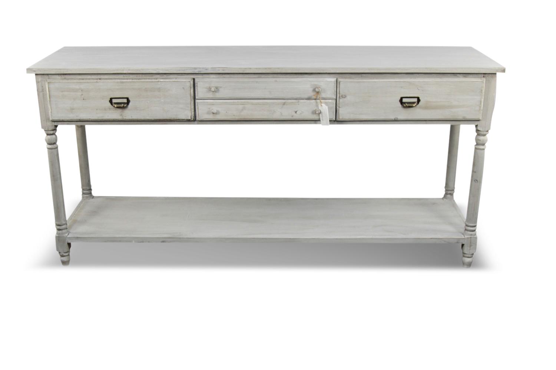 Meuble console drapier bois 4 tiroirs ceruse blanc 183x50x87cm for Console meuble bois