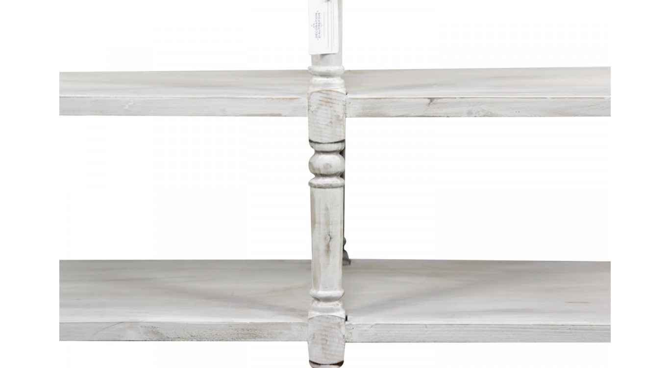 Meuble Console Drapier Bois Cerusé Blanc 162x54x87cm