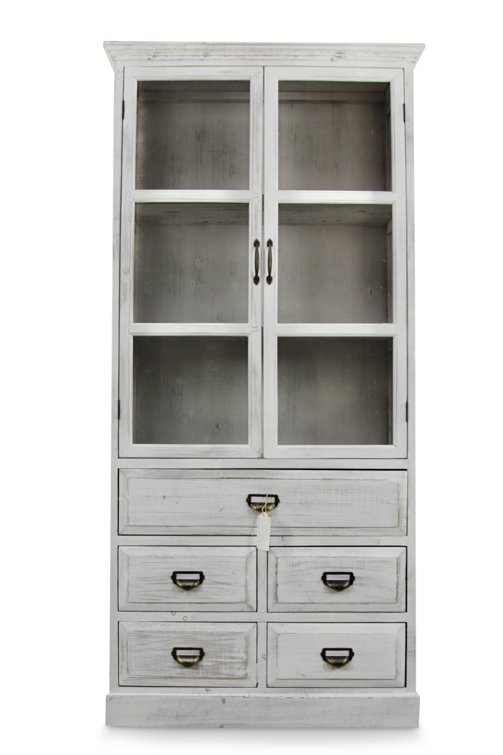 buffet vaisselier rangement bois 5 tiroirs ceruse blanc 81x35x169cm. Black Bedroom Furniture Sets. Home Design Ideas