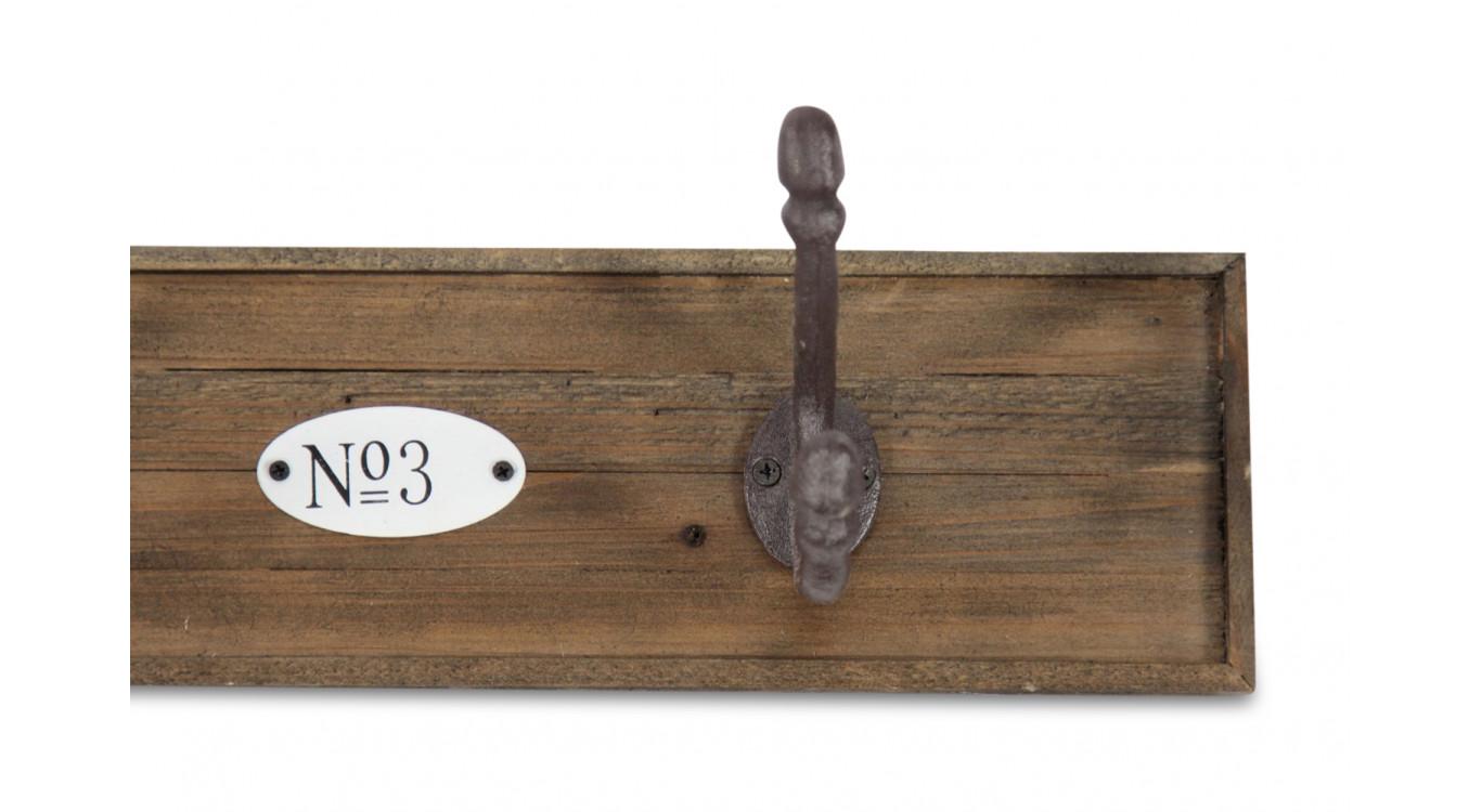 Patère Portemanteau Bois 4 Accroches 79.5x10x10.5cm
