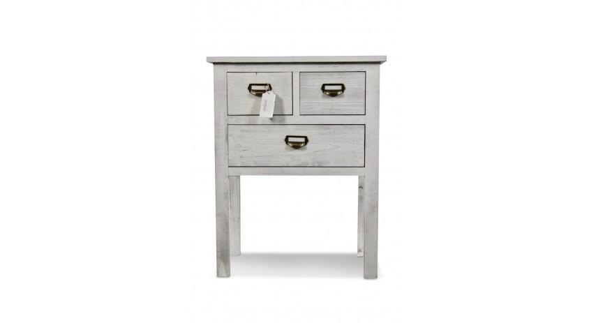 Meuble console bois 3 tiroirs ceruse blanc for Console meuble bois