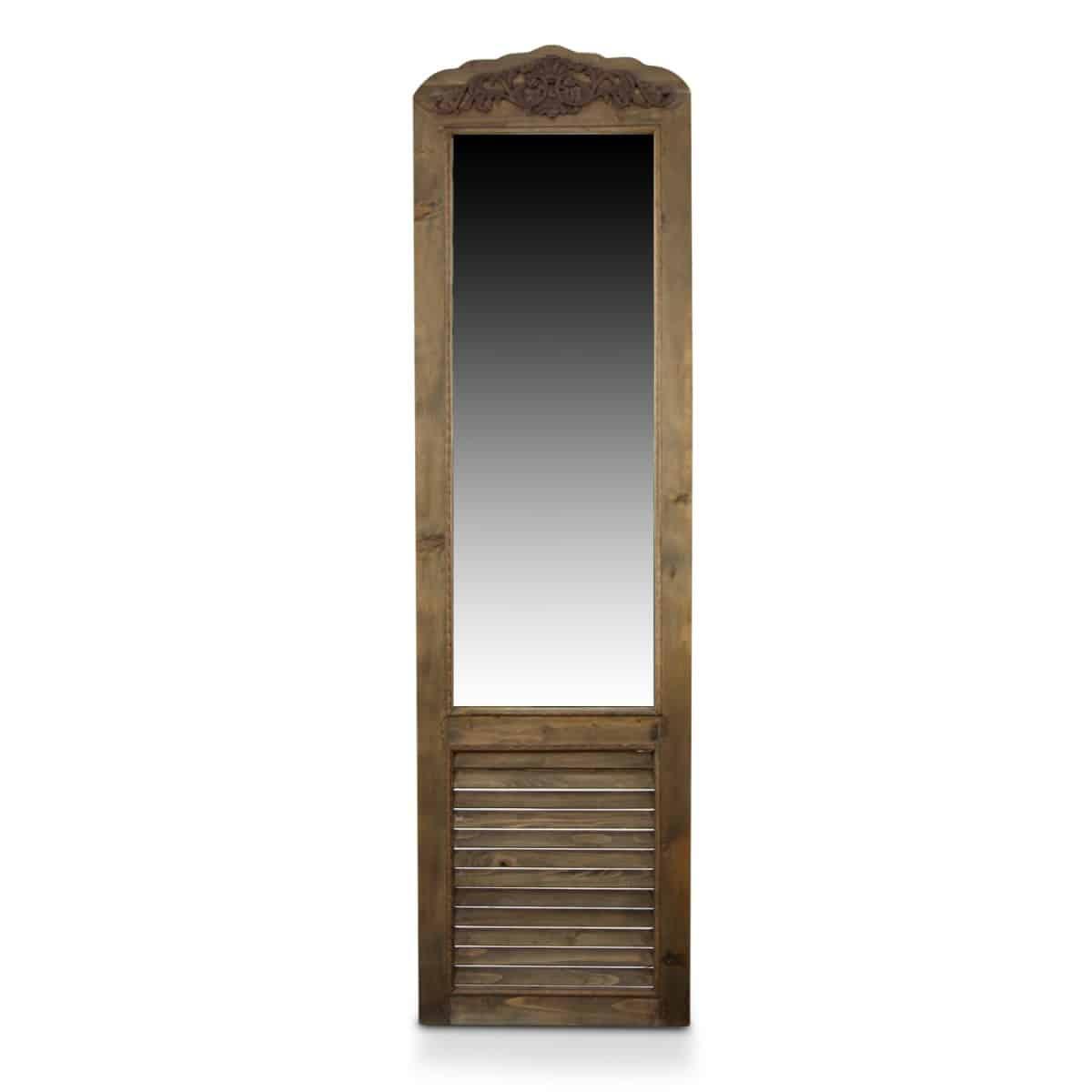 Miroir Ancien Rectangulaire Vertical Sur Pied Bois 48.5x5x170cm