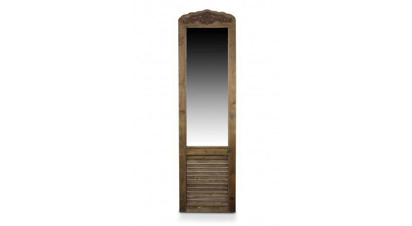 Miroir ancien rectangulaire vertical sur pied bois 48 for Prix miroir ancien