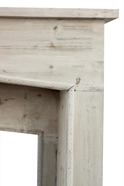 encadrement manteau cheminee ceruse blanc 106x21x110cm. Black Bedroom Furniture Sets. Home Design Ideas