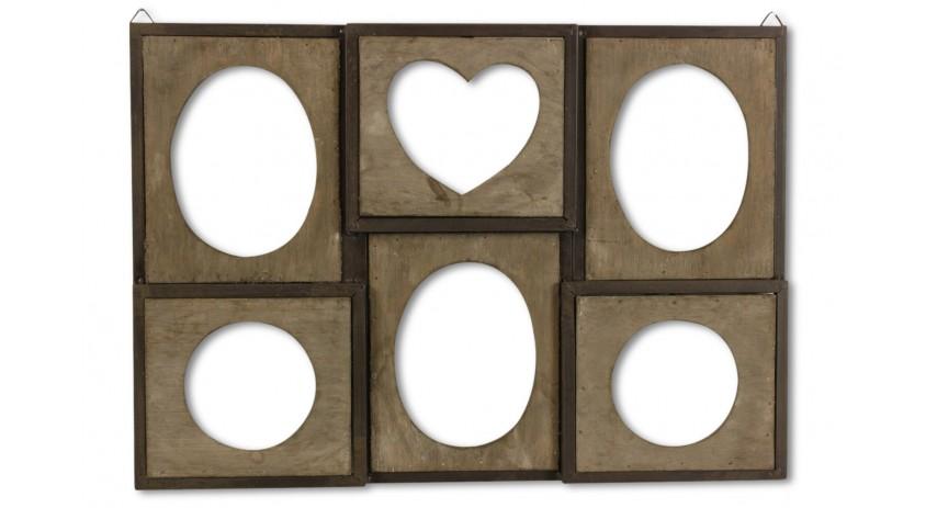 cadre photo retro 6 photos horizontal bois. Black Bedroom Furniture Sets. Home Design Ideas