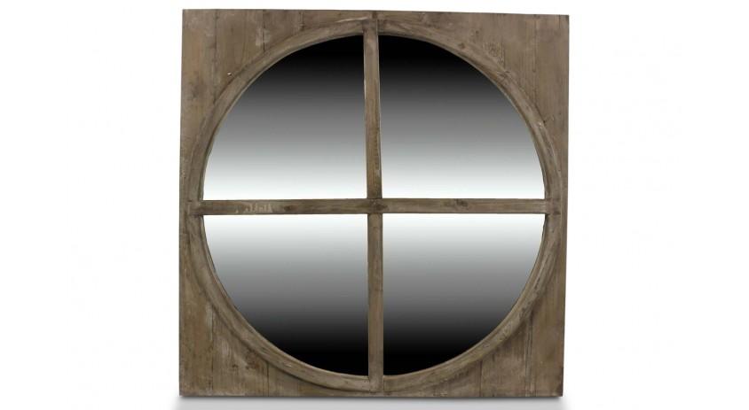 Miroir ancien rond bois for Miroir rond bois