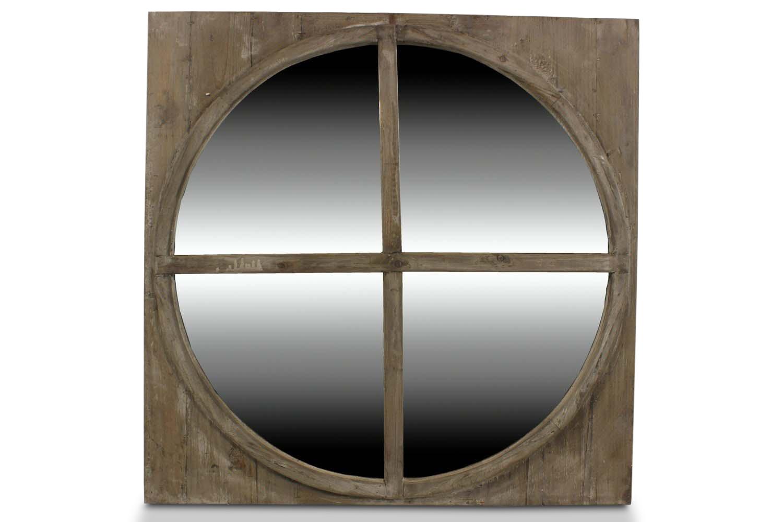 MIROIR ANCIEN ROND BOIS 79.5x79.5x3.5cm