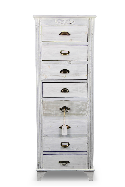 meuble semainier chiffonnier grainetier bois ceruse blanc 8 tiroirs 545x33x1465cm