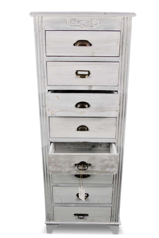 meuble semainier chiffonnier grainetier bois ceruse blanc 8 tiroirs. Black Bedroom Furniture Sets. Home Design Ideas