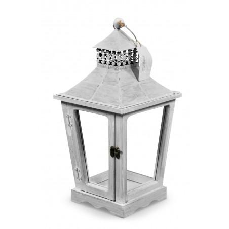 Lanterne Bois Cerusé Blanc 22x22x43.5cm