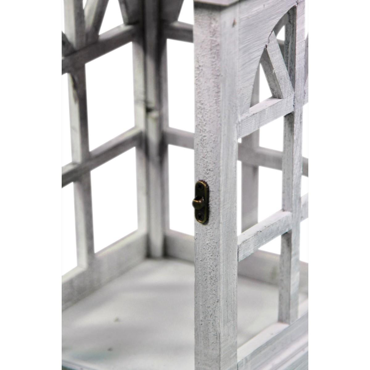 Lanterne Bois Cerusé Blanc 20x20x46cm
