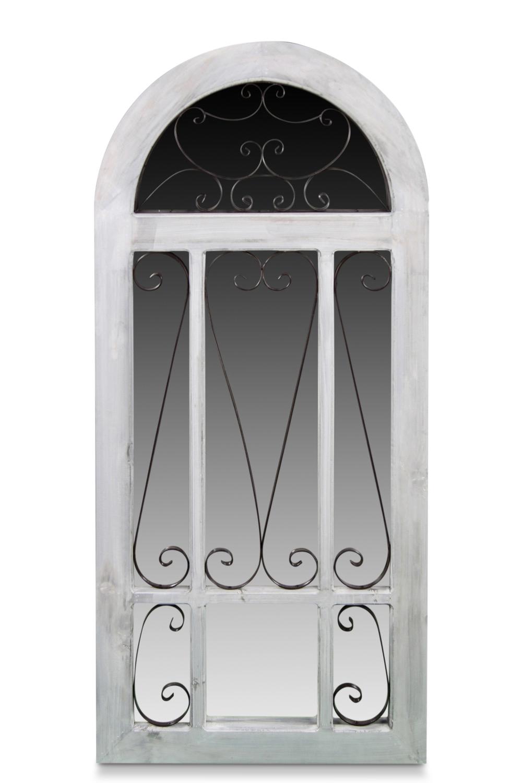 Miroir Ancien Vertical Bois Cerusé Blanc 60x3x130cm