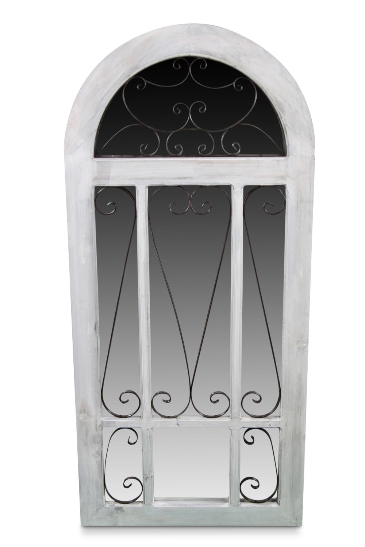 Miroir ancien vertical bois ceruse blanc 60x3x130cm for Miroir 130 x 40