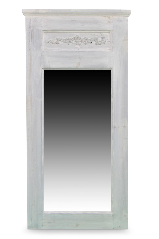 Grand Miroir Ancien Rectangulaire Vertical Bois Cerusé Blanc 58x4x118cm