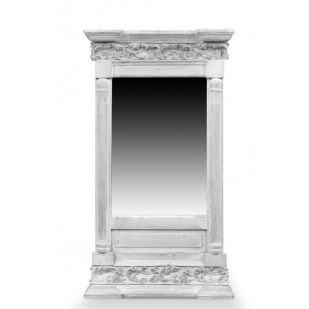 Miroir Ancien Rectangulaire Vertical Bois Cerusé Blanc 42x10x75cm