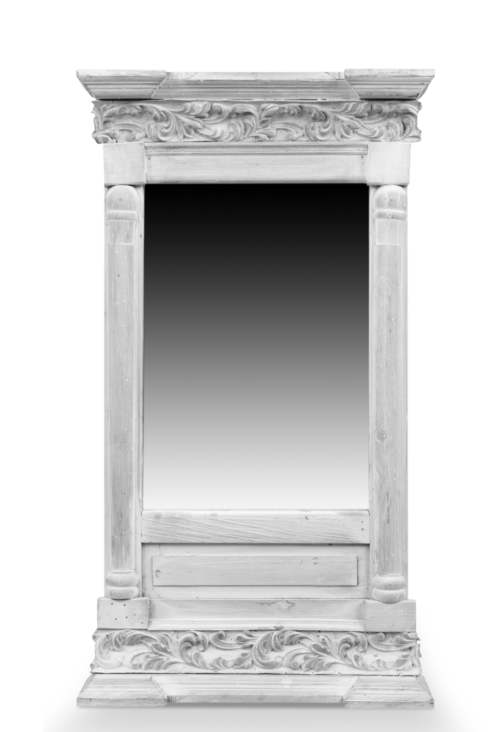 miroir ancien rectangulaire vertical bois ceruse blanc 42x10x75cm. Black Bedroom Furniture Sets. Home Design Ideas