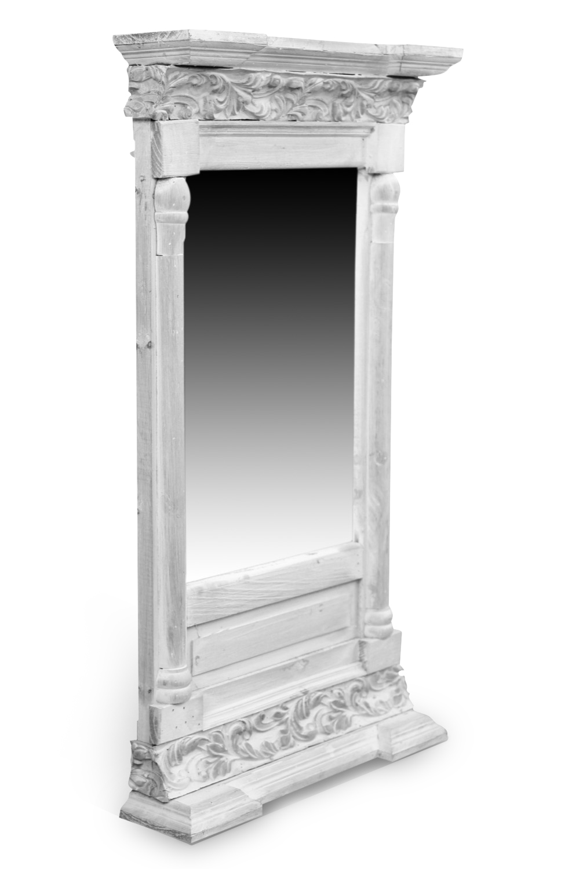 miroir ancien rectangulaire vertical bois ceruse blanc 42x10x75cm. Black Bedroom Furniture Sets. Home Design Ideas