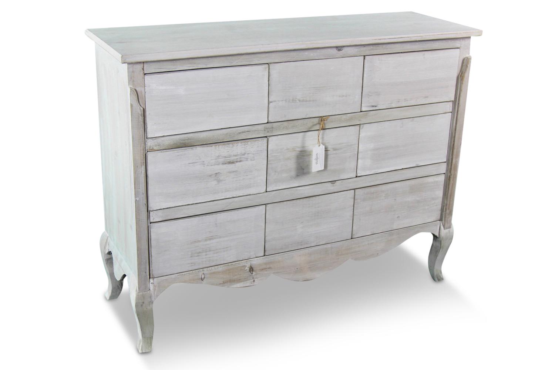 meuble bas rangement bois ceruse blanc 9 tiroirs nu 121x40x94cm. Black Bedroom Furniture Sets. Home Design Ideas