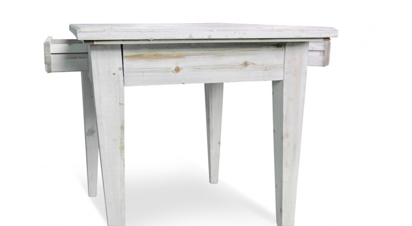 Table bois 2 tiroirs ceruse blanc for Table bois blanc