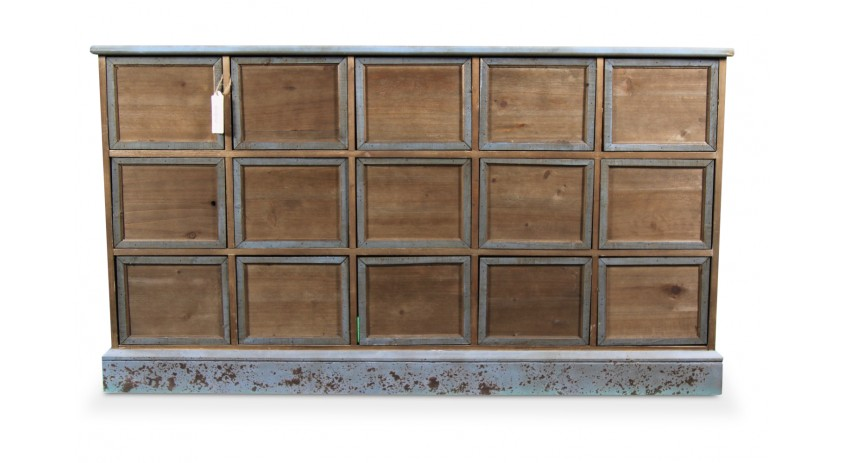 MEUBLE SEMAINIER CHIFFONNIER GRAINETIER BOIS 15 TIROIRS BLEU VIEILLI NU 137.5x40.5x76cm