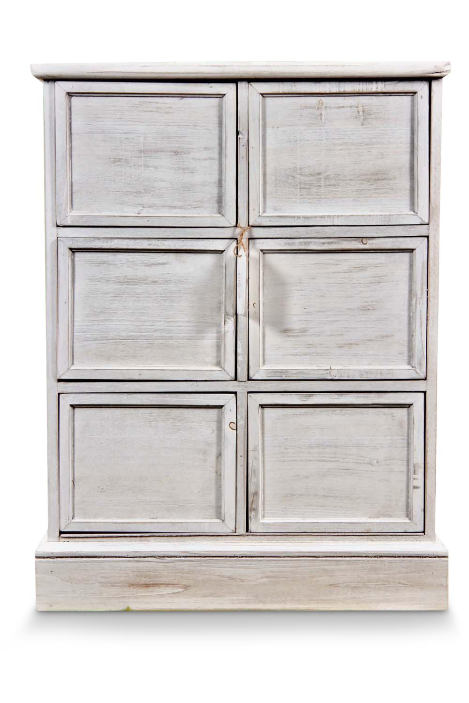 MEUBLE SEMAINIER CHIFFONNIER GRAINETIER BOIS 6 TIROIRS CERUSE BLANC NU 58x40.5x76cm